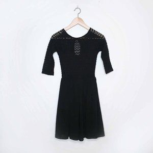 TFNC lace top fit and flare black party dress